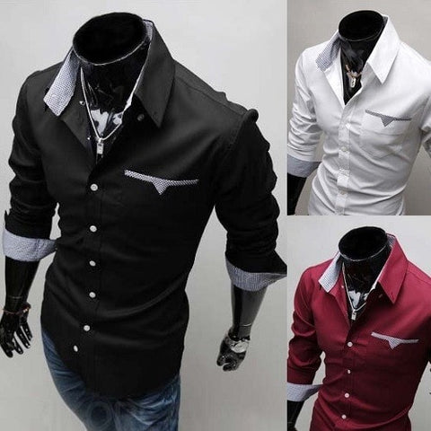 Mens Formal Shirts - Long Sleeve Luxury Dress Shirts - Dress Shirts - eDealRetail - 1