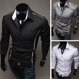 Slim Fit Long Sleeve Dress Shirts - Dress Shirts - eDealRetail - 1