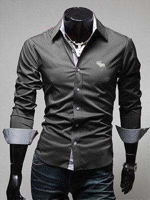 Embroidery Male Slim Long Sleeve Shirts - Dress Shirts - eDealRetail - 5