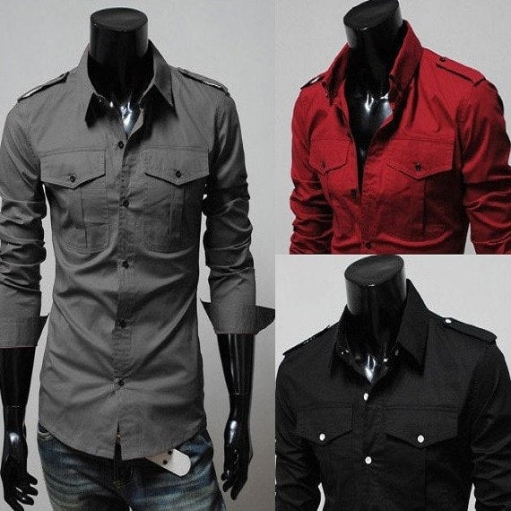Two-Pocket Slim Long-Sleeved Shirt - Casual Shirts - eDealRetail - 1