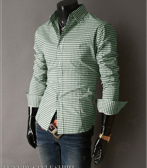 Spring French Plaid  Long Sleeve Collar Shirts - Casual Shirts - eDealRetail - 13