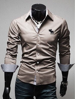 Embroidery Male Slim Long Sleeve Shirts - Dress Shirts - eDealRetail - 6
