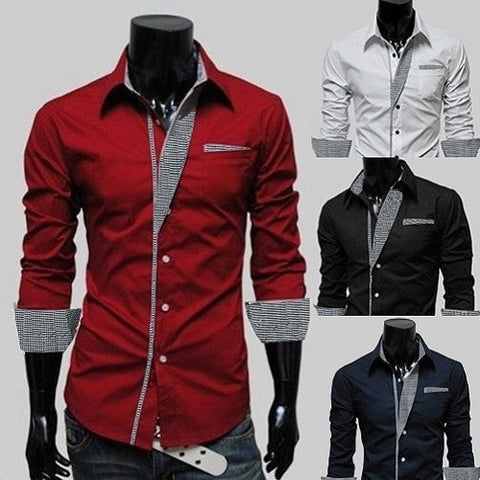 Mens Long Sleeve Formal Fitted Dress Shirts - Dress Shirts - eDealRetail - 1