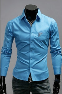 Men's Bright Leisure Self-Cultivation Shirts 4 Colors - Dress Shirts - eDealRetail - 3