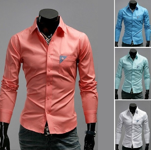 Men's Bright Leisure Self-Cultivation Shirts 4 Colors - Dress Shirts - eDealRetail - 1