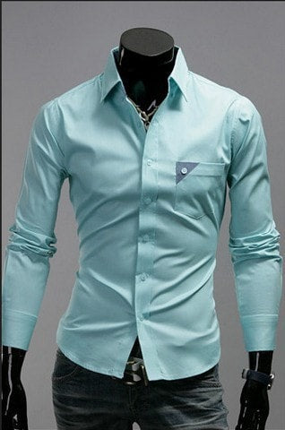 Men's Bright Leisure Self-Cultivation Shirts 4 Colors - Dress Shirts - eDealRetail - 4