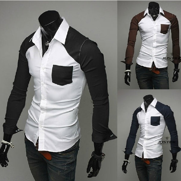 Sleeve Patch Pocket Long Sleeve Shirts - Casual Shirts - eDealRetail - 1