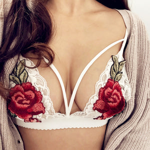 Sexy Floral Rose Push Up Bra