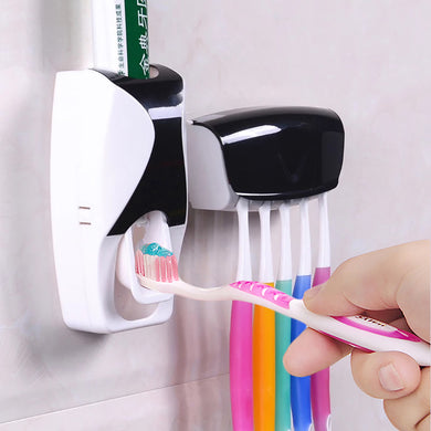 Automatic Toothpaste Dispenser with Toothbrush Holder