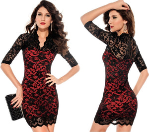 Sexy Half Sleeve Lace Bodycon Dress - Dresses - eDealRetail - 1