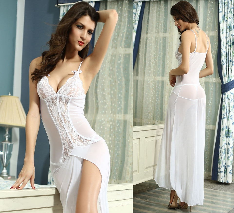 Sexy Long White Bride Sleepwear Gown - lingerie - eDealRetail - 1
