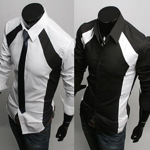 Luxury White/Black Slim Fit Two Tone Dress Shirts - Dress Shirts - eDealRetail - 1