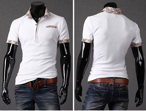 Fitted T Shirts Mens Turn Down Collar Short Sleeve Polo - Casual Shirts - eDealRetail - 8