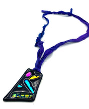 Load image into Gallery viewer, Fused Dichroic Glass Pendant on Recycled Sari Silk