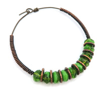 Load image into Gallery viewer, Bracelet - Cooper Loop with Hook and Green Beading