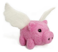 Flying Pig Needle Felting DIY Kit. Makes 1