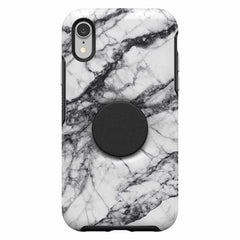 Otterbox Otter + Pop Symmetry Case with Swappable PopTop White Marble for iPhone XR