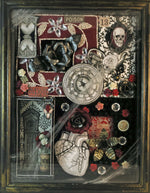 Load image into Gallery viewer, shadowbox art love and time theme with clocks watch skull heart