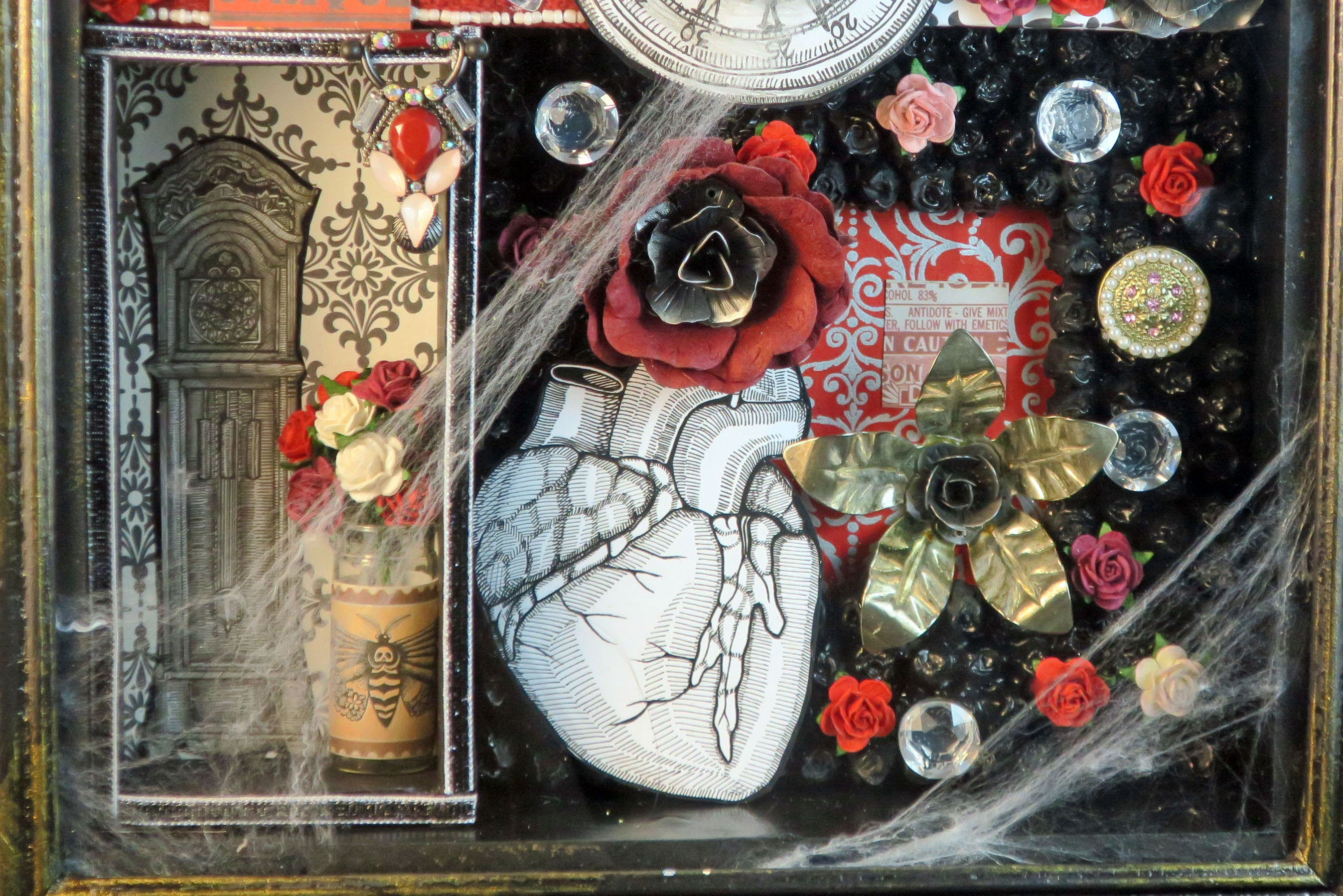 shadowbox art love and time theme with clocks watch skull heart