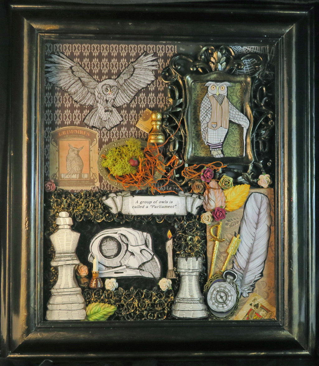 shadowbox art parliament of owls; owl in flight; owl skull assorted media