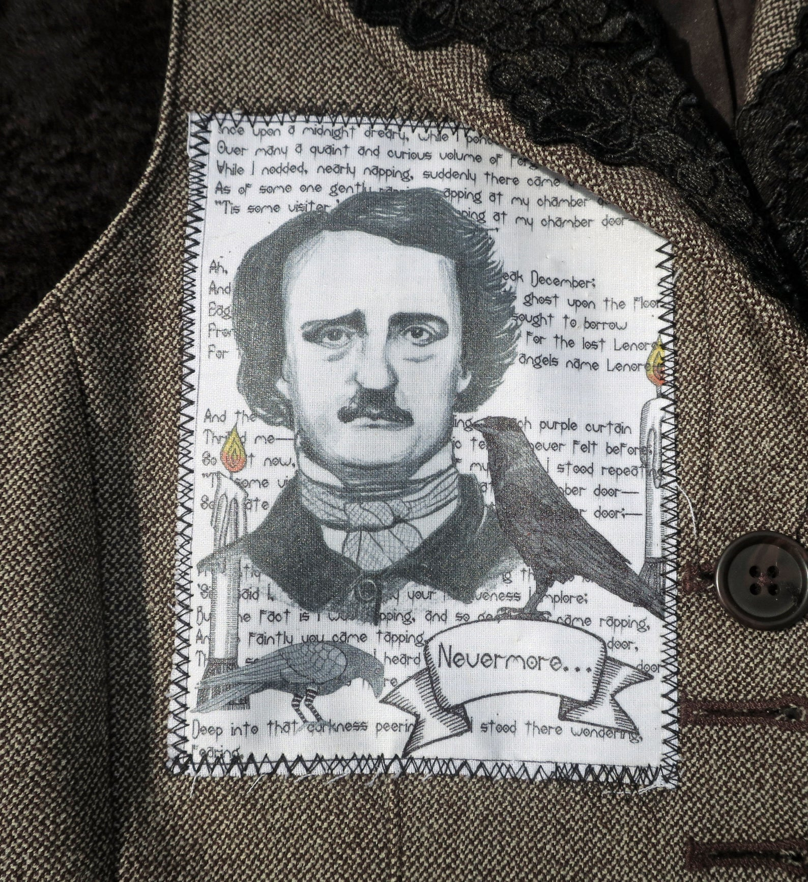 Edgar Allan Poe fabric patch