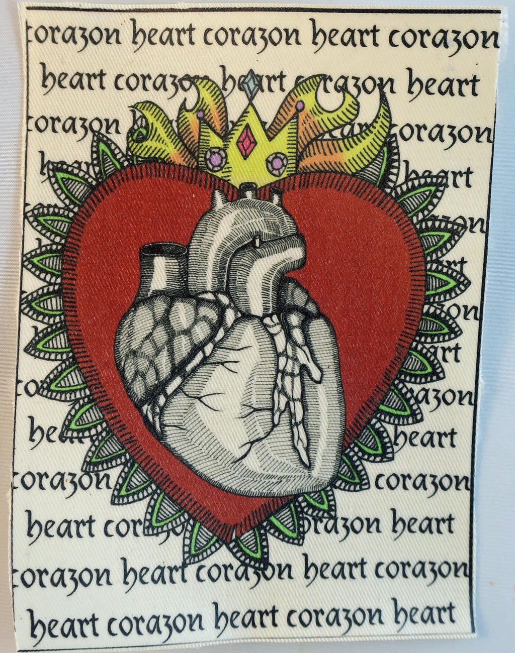 Corazon flaming heart fabric patch