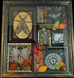 Load image into Gallery viewer, shadowbox art with insect key bat human and goat skull pocket watch moss