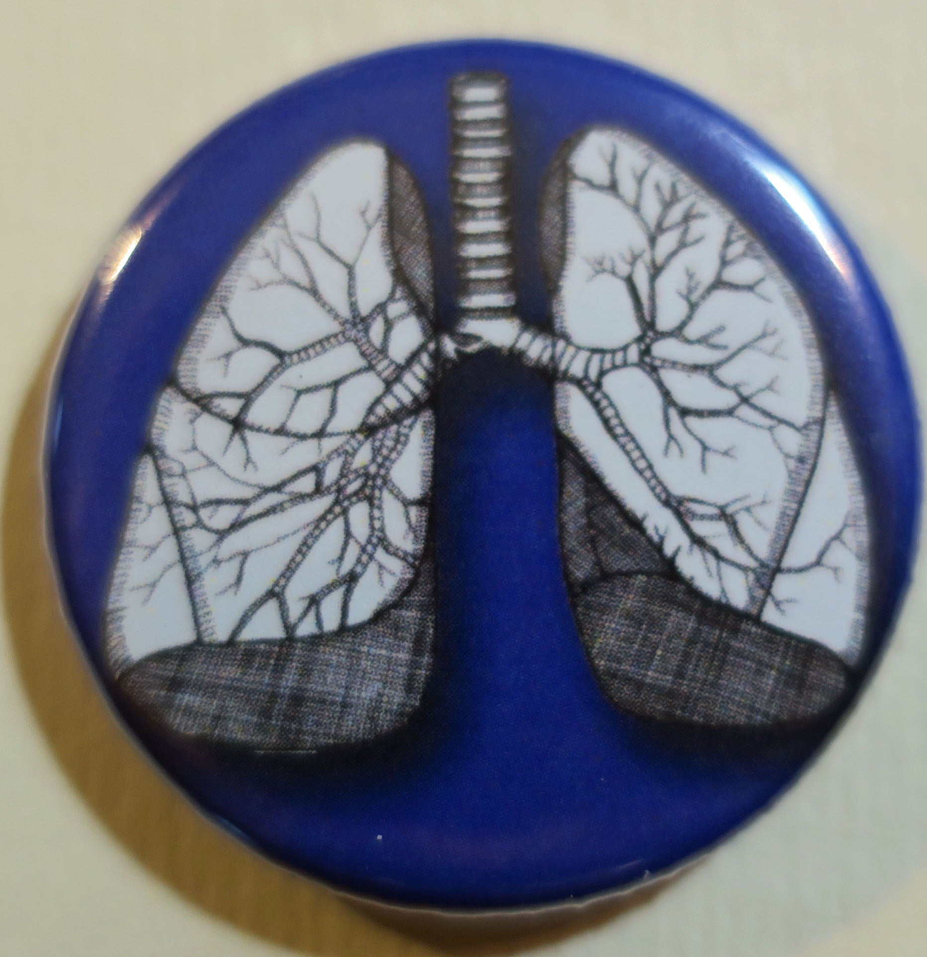 human lungs anatomical button magnet