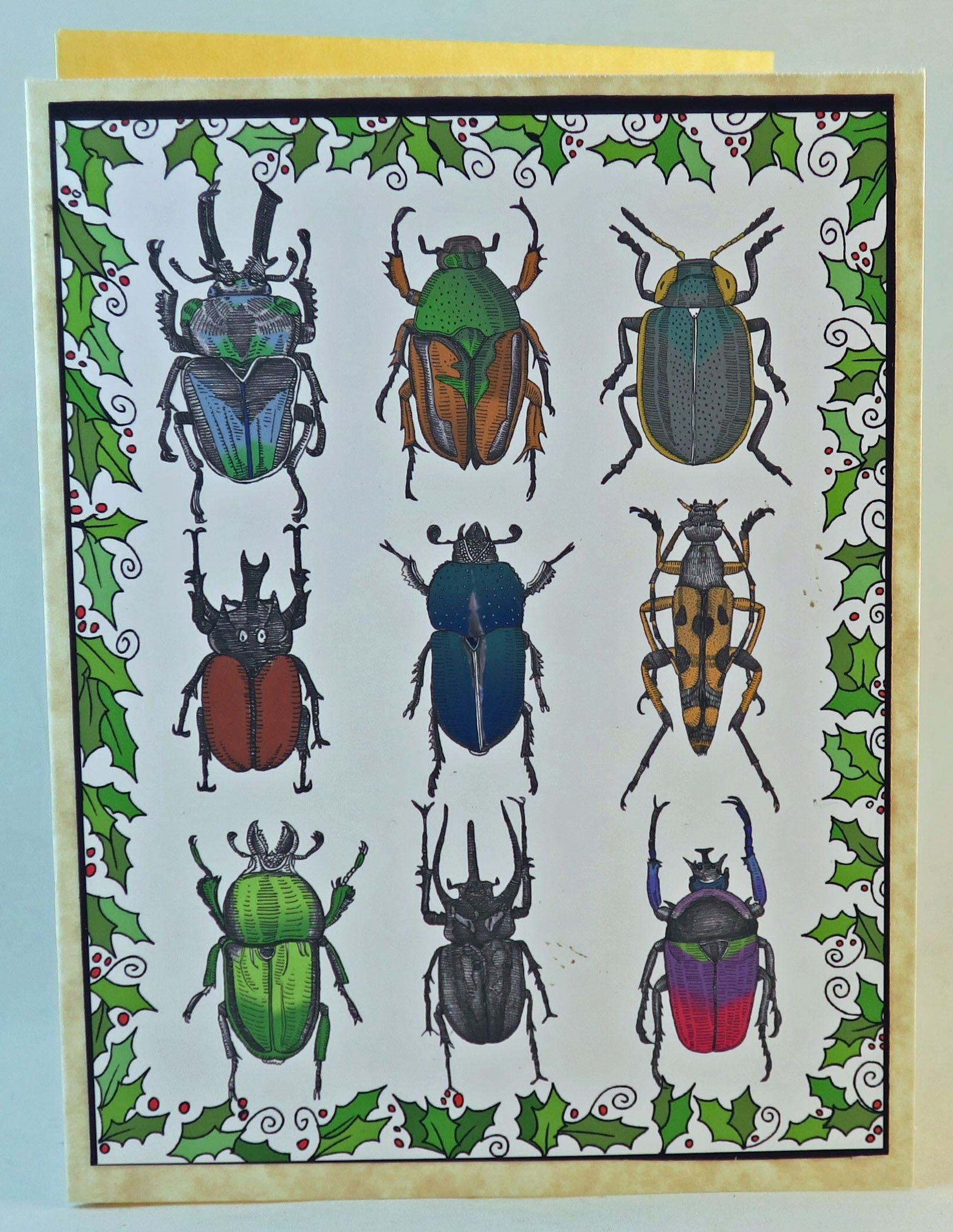 insect themed christmas card