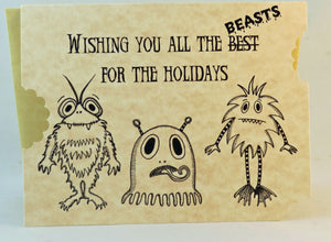 beasts monster Christmas card