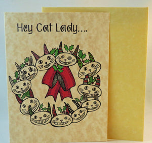 cat lady christmas card