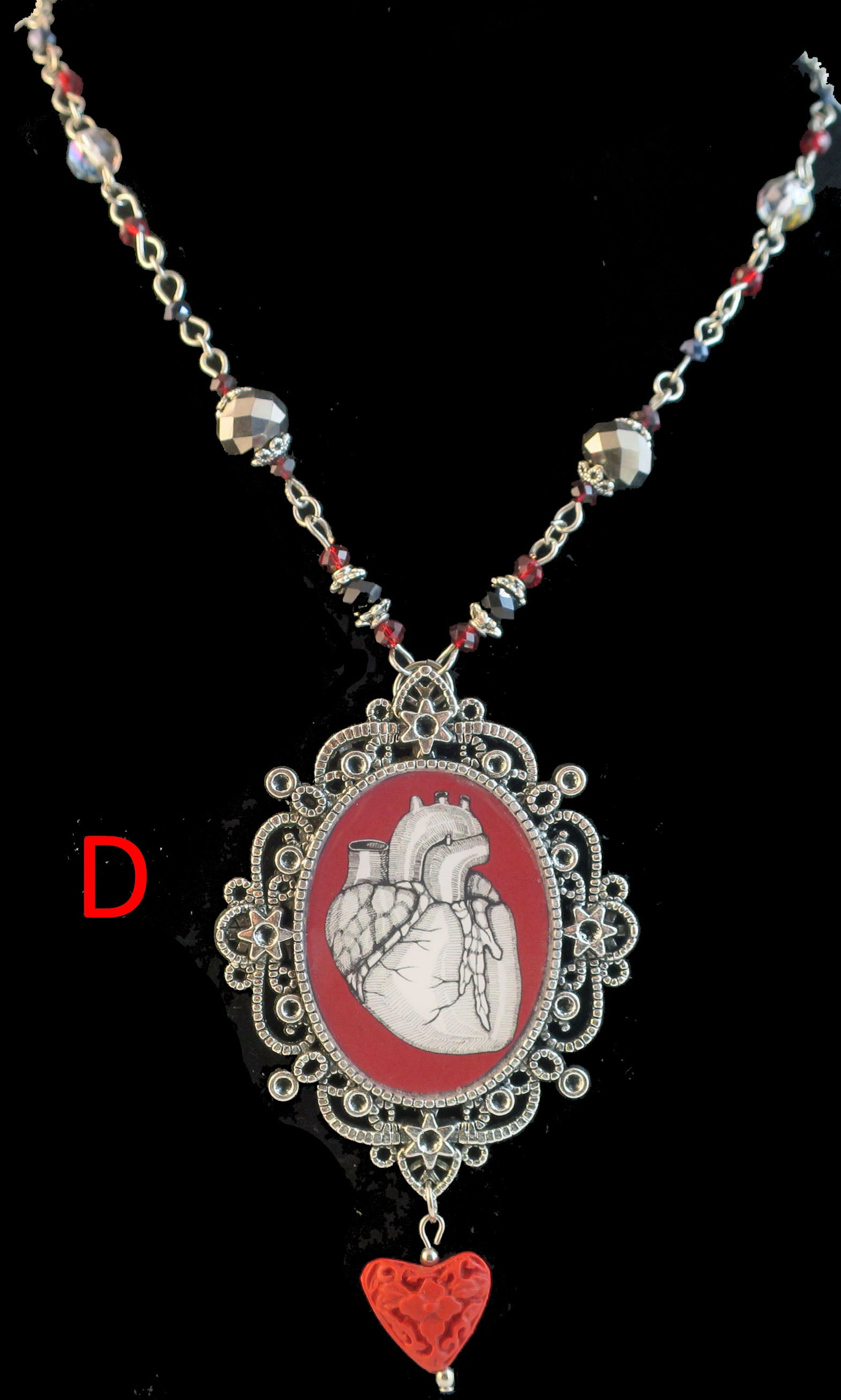 human heart pendant necklace goth