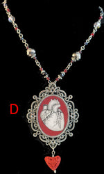 Load image into Gallery viewer, human heart pendant necklace goth