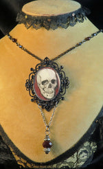 Load image into Gallery viewer, Human Skull pendant necklace goth