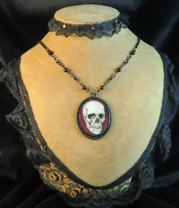 Human Skull pendant necklace goth