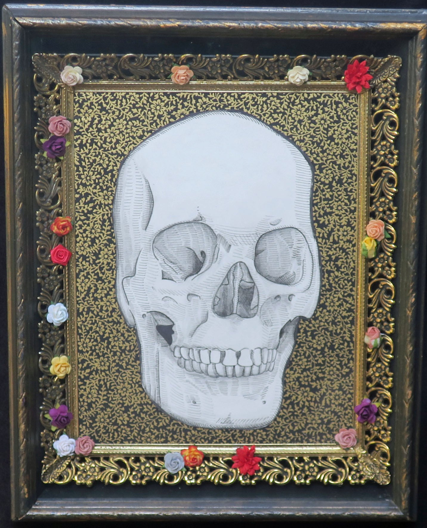 human skull framed original illustration