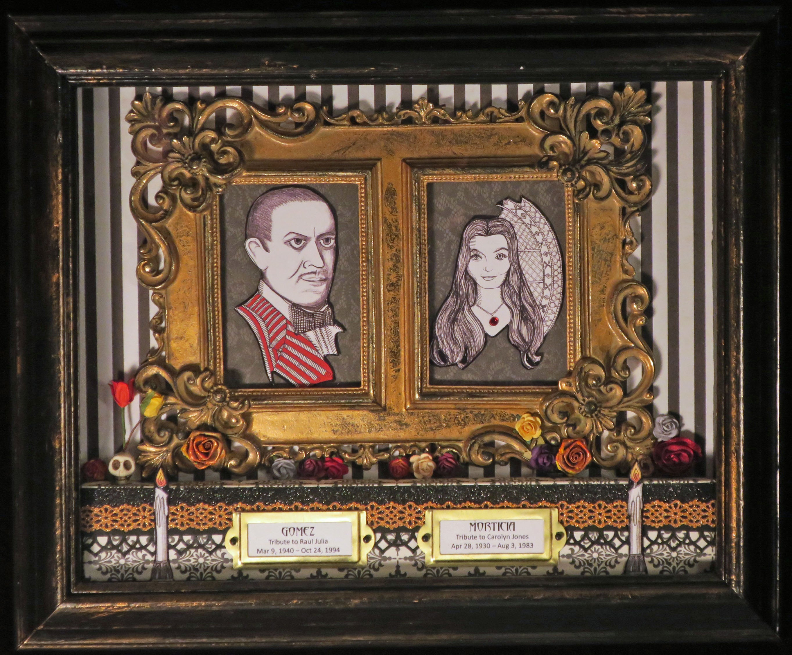 Gomez and Morticia Addams Dia de los Muertos inspired shadowbox