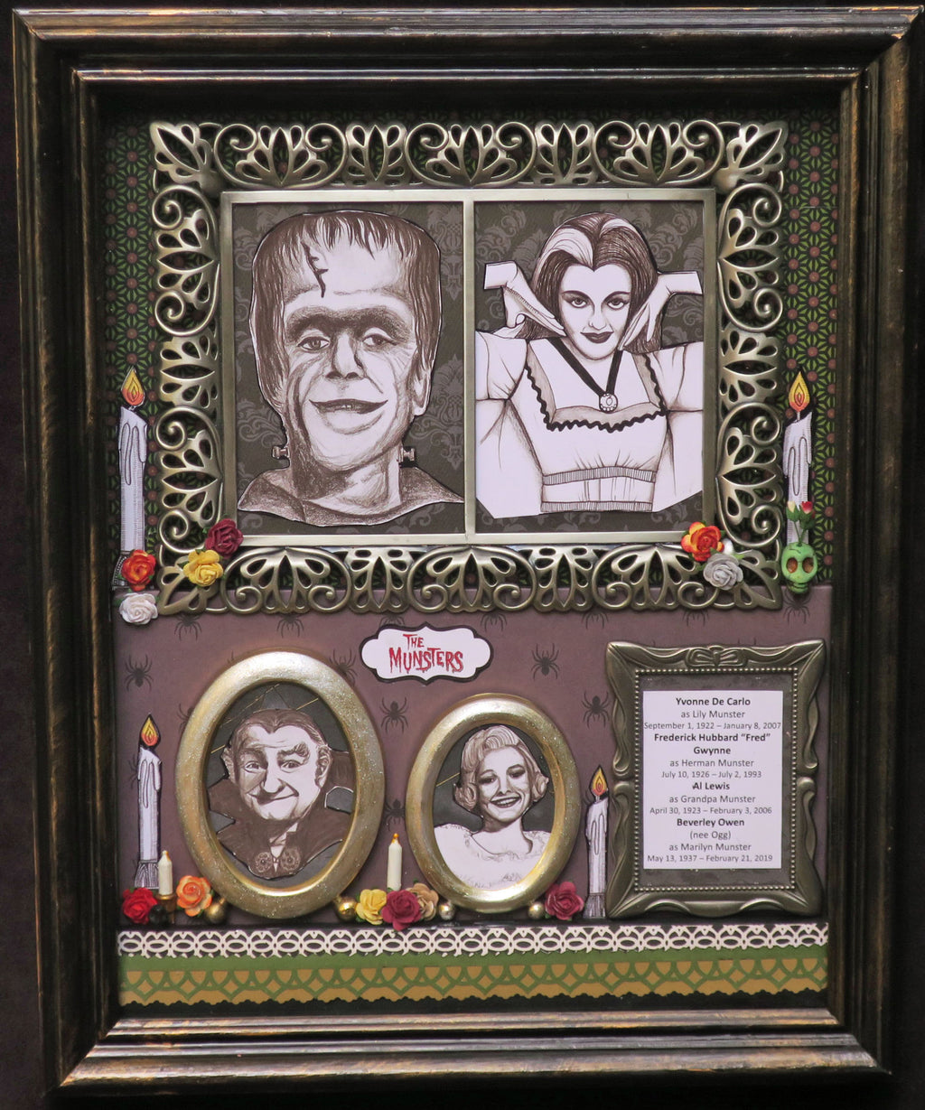The Munsters Dia de los Muertos tribute shadowbox