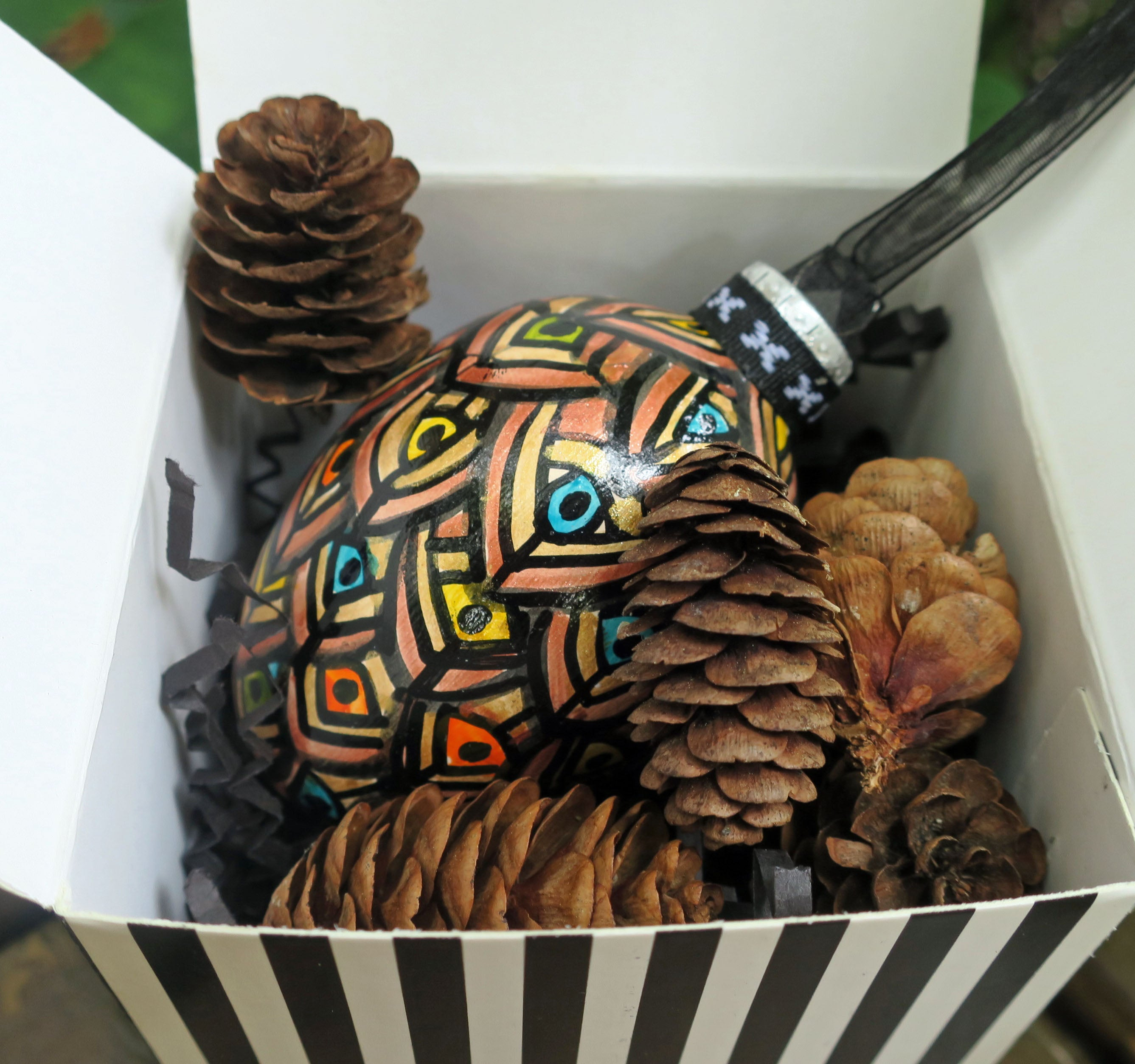 pine cone ornament with eyes
