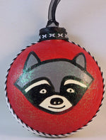 Load image into Gallery viewer, raccoon ornament happy stinking holidays