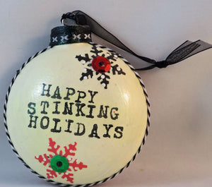 happy stinking holidays raccoon ornament