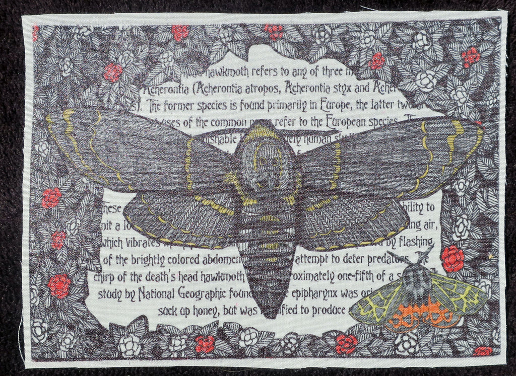 death's head hawkmoth fabric patch