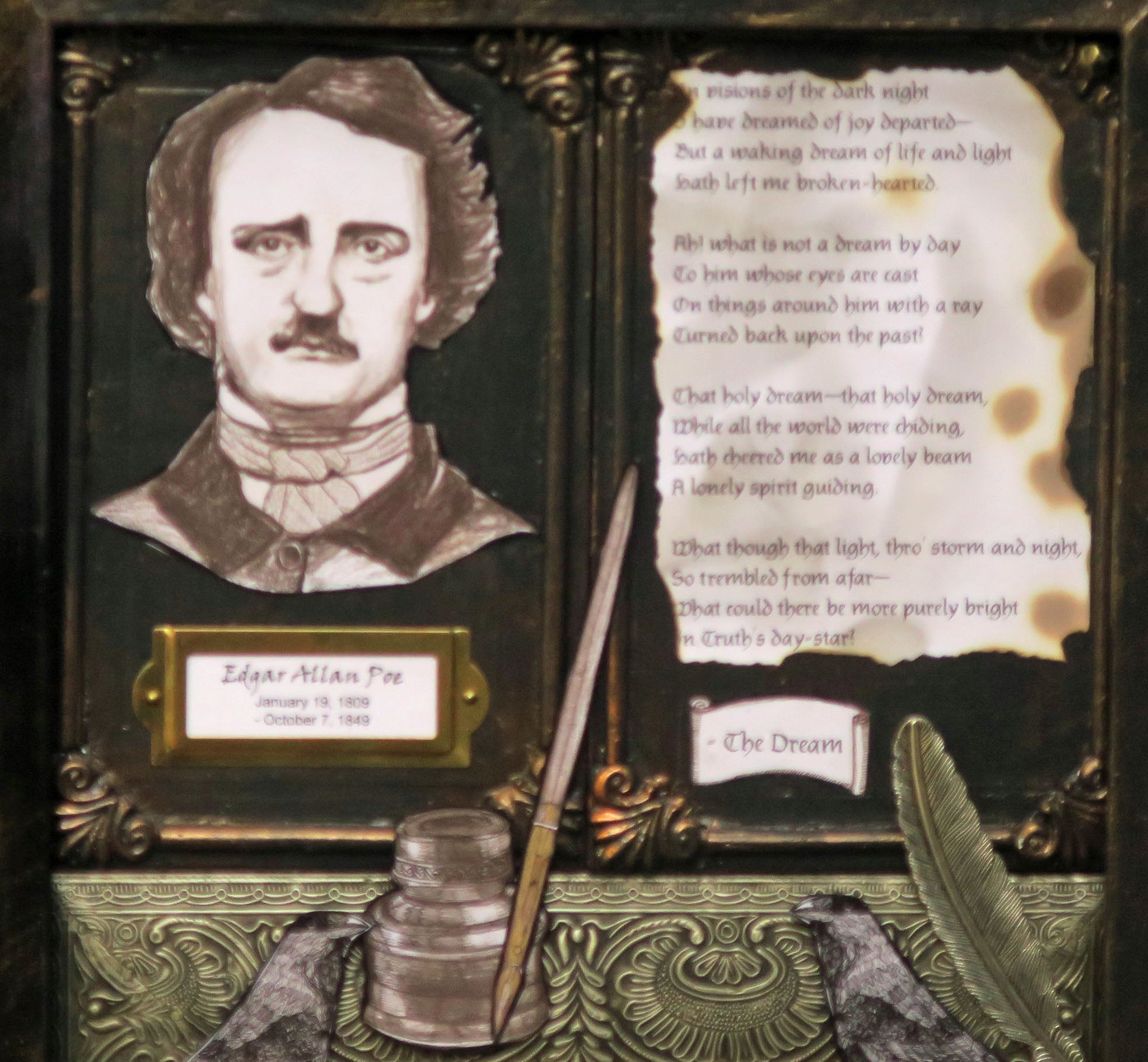 Edgar Allan Poe Shadowbox with The Dream poem