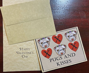 Pugs and Kisses Card - Valentine or Blank