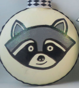 raccoon ornament happy stinking holidays