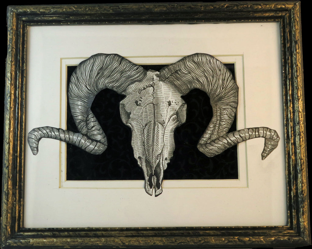 Framed original illustration of  a ram skull