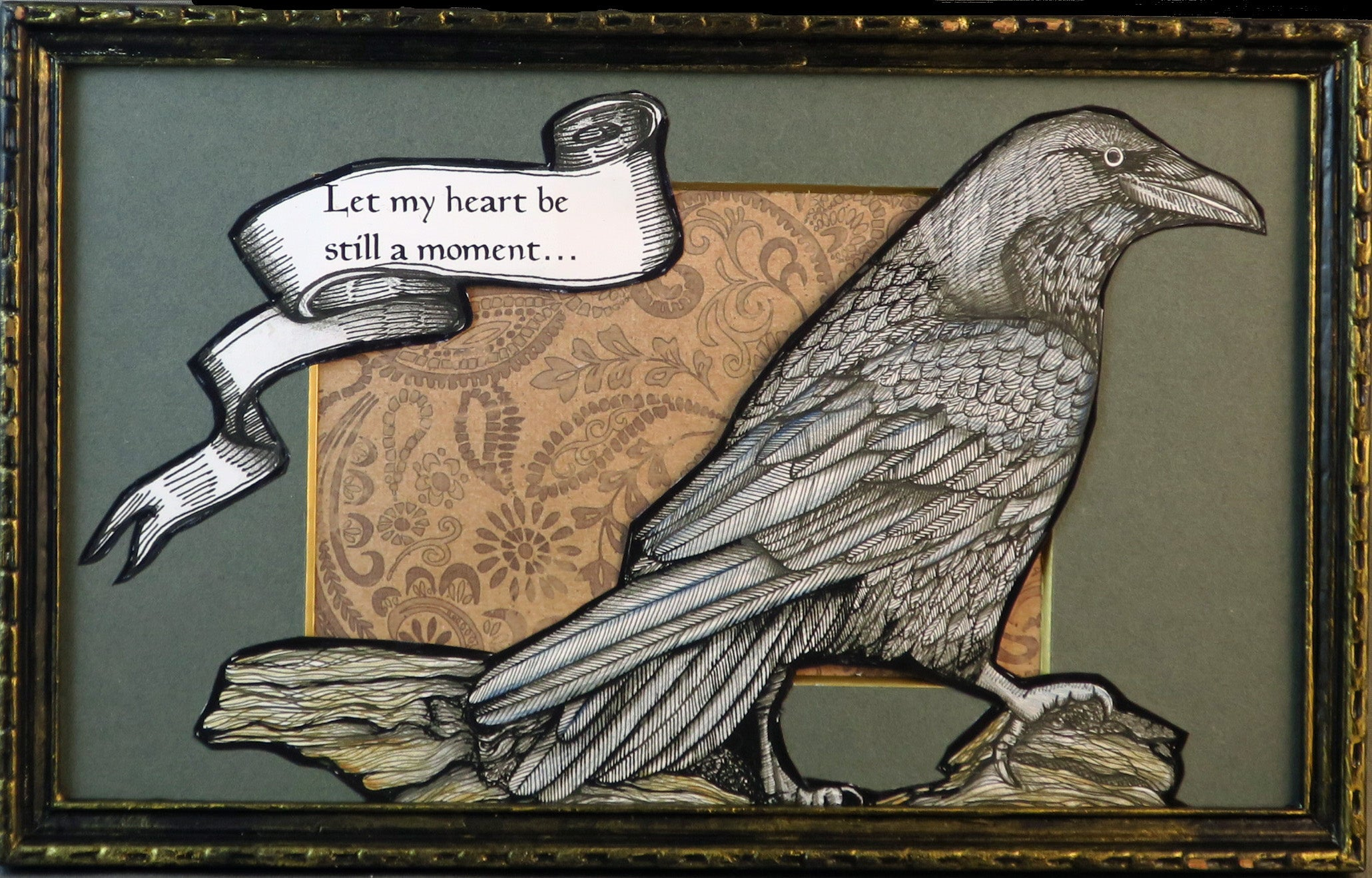 Two Ravens Framed Original Illustration