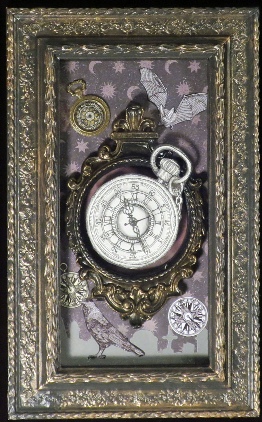 Time raven bat watch compass shadowbox