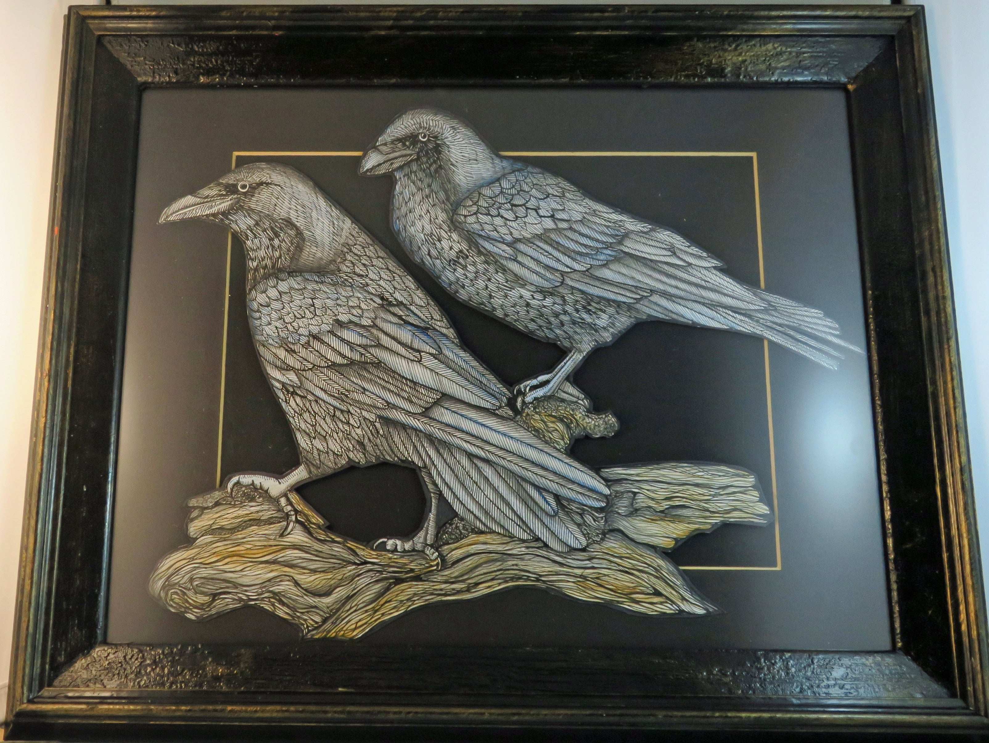 Raven original illustration framed