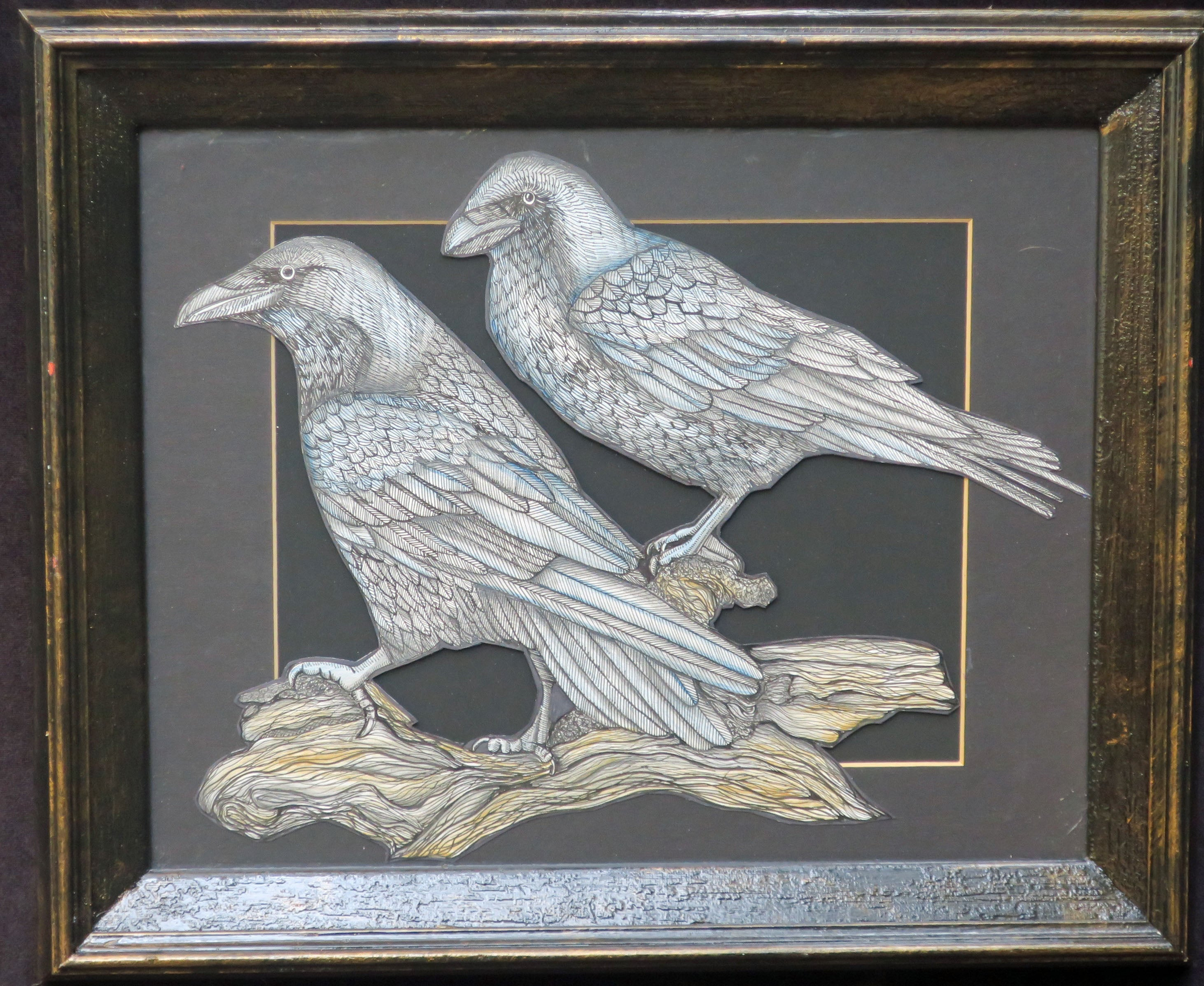 Framed original illustration of  two ravens
